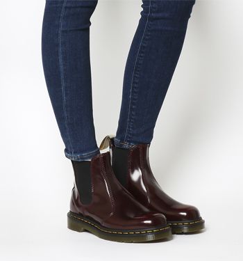 bright in luster fine quality men/man Dr. Martens Vegan 2976 Chelsea Boot CHERRY