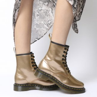 Dr. Martens Vegan 1460 8 Eye Boot ROSE GOLD CHROME PAINT METALLIC