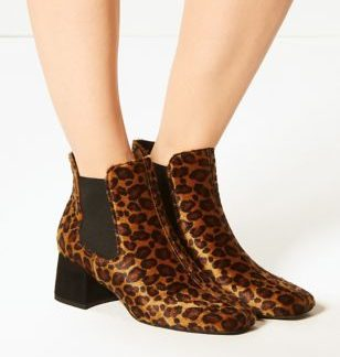 M&S Collection Animal Print Square Toe Chelsea Ankle Boots