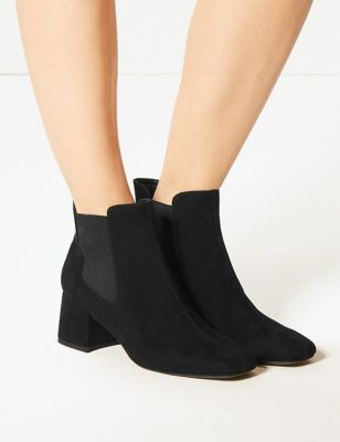 attractive & durable fashion style of 2019 lowest price M&S Collection Block Heel Square Toe Chelsea Boots
