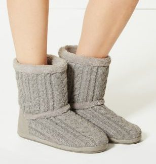 M&S Collection Cable Knit Slipper Boots