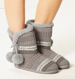 M&S Collection Faux Fur Pom-Pom Slipper Boots