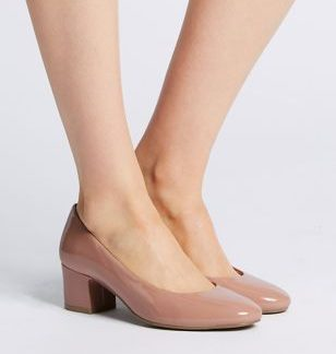 M&S Collection Wide Fit Block Heel Court Shoes