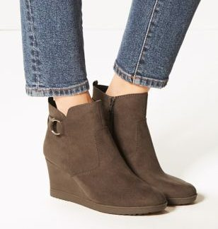 M&S Collection Wide Fit Wedge Heel Ankle Boots