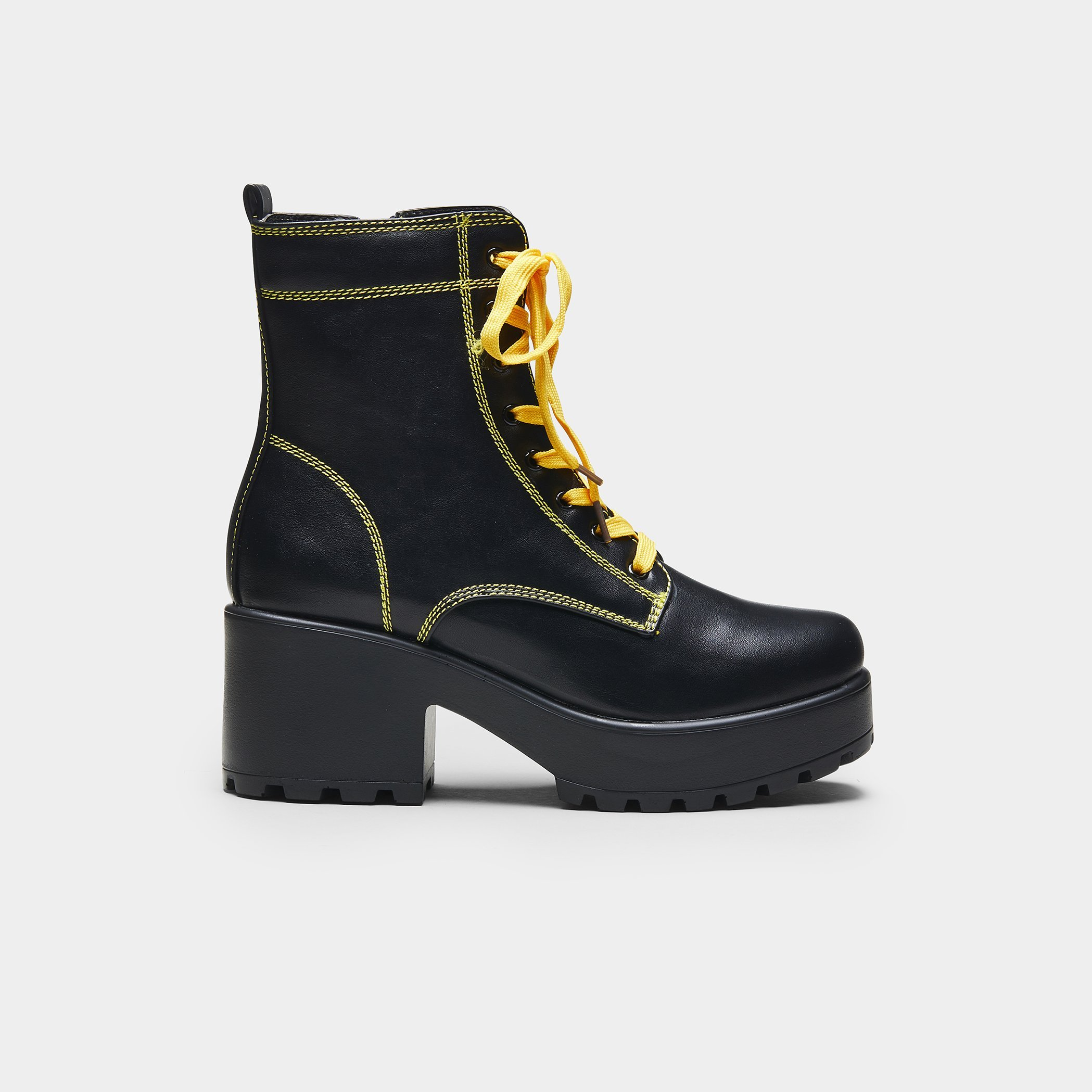 Black Chunky Platform Biker Boots with Yellow laces and Stitching