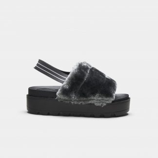 Dark Grey Chunky Platform Plush Vegan Fur Slingback Sliders
