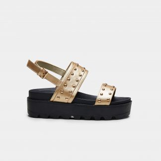 Gold Vegan Leather Chunky Platform Sliders with Silver Studded Straps