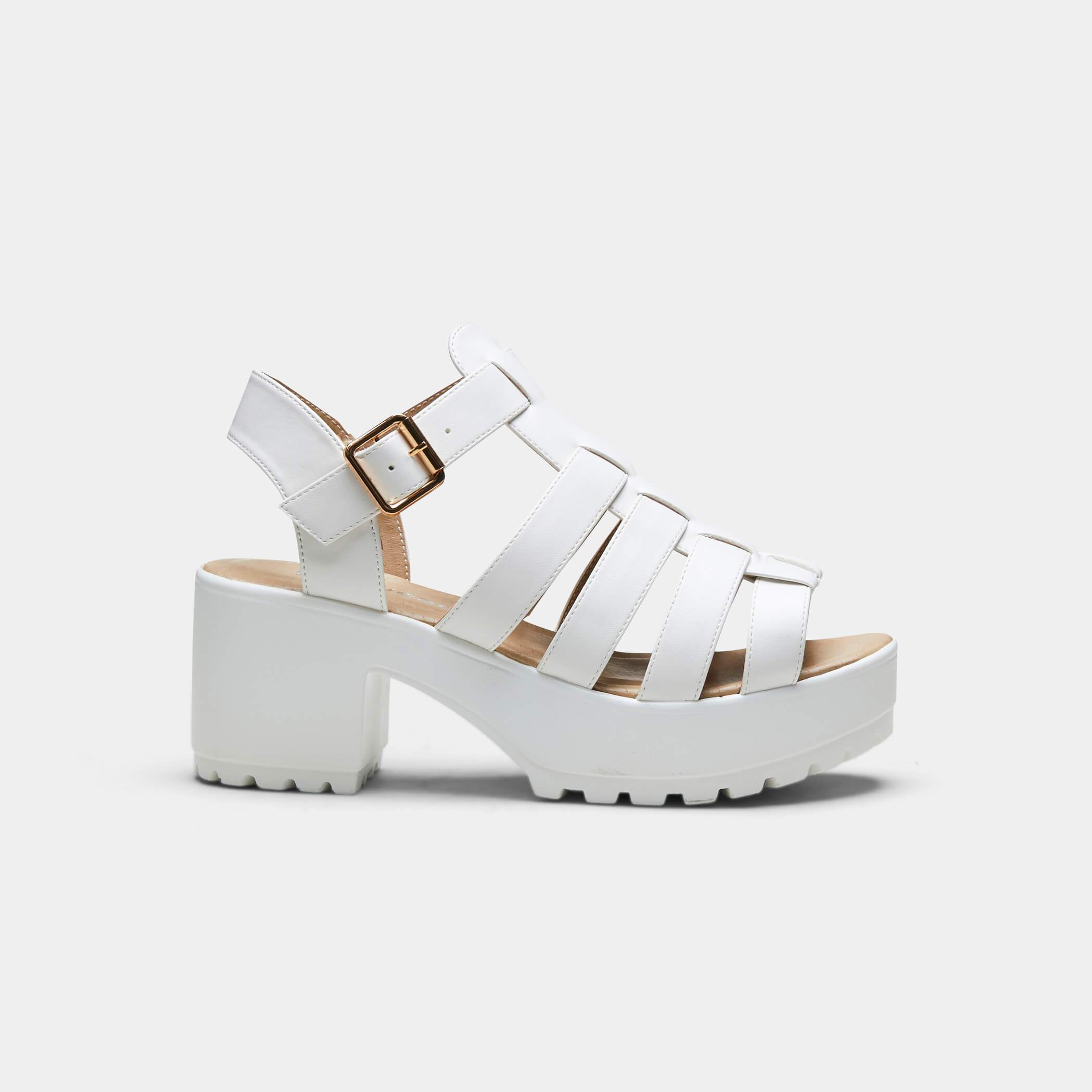 White Chunky Platform Cleated Strappy