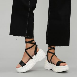Black Faux Leather Lace up Wrap Extra Chunky Sandals