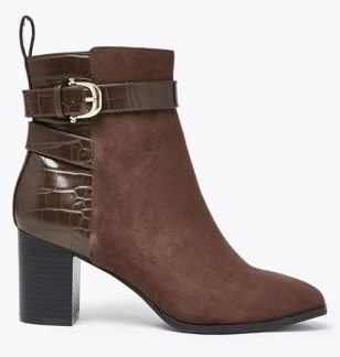 M&S Collection Buckle Block Heel Ankle Boots