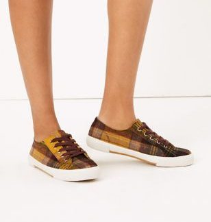 M&S Collection Checked Lace Up Trainers