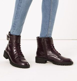 M&S Collection Cleated Hiker Block Heel Ankle Boots