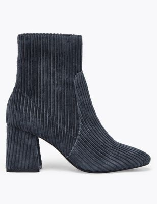 M&S Collection Corduroy Flared Block Heel Ankle Boots