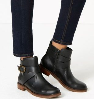 M&S Collection Cross Strap Block Heel Ankle Boots