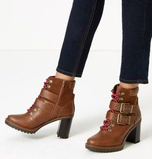 M&S Collection Double Buckle Hiker Ankle Boots
