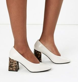 M&S Collection Snakeskin Effect Block Heel Court Shoes