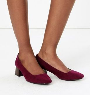M&S Collection Square Toe Block Heel Court Shoes