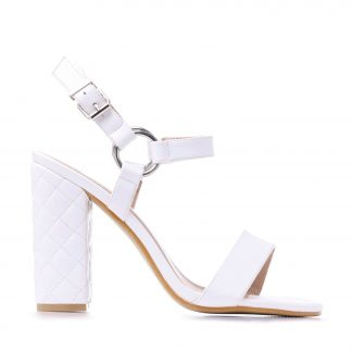 White Diamond Stitched Heel Hooped Sandals