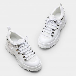 All White Chunky Trainers with Silver Studs and Ski Hook Detailing