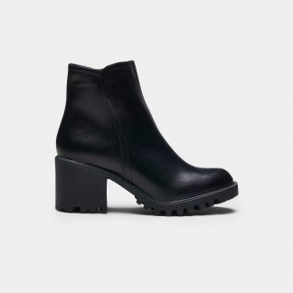 Black Faux Leather Rugged Sole Classic Ankle Boots