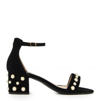 Black Suede Pearled Mid Heel Sandals with Ankle Strap