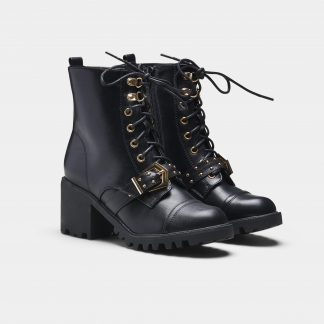 Black Vegan Grippy Sole Boots with Gold Detailing and Buckle
