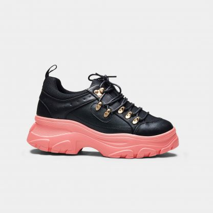 Black and Pink Two Tone Mesh Chunky Platform Hiking Trainers