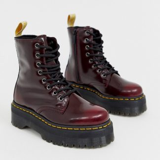 Dr Martens Jadon chunky boots in vegan cherry-Red