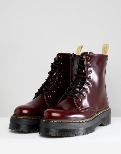 Dr Martens vegan Jadon II 8-eye platform boots in red