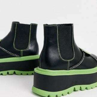 Koi vegan chunky alien ankle boots with green detailing in black