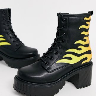 Koi vegan flame ankle boots in black