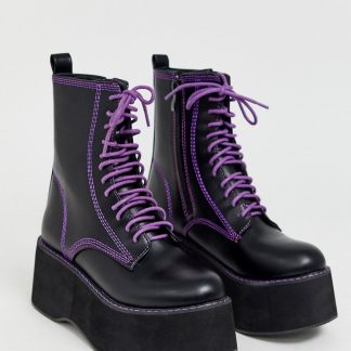 Koi vegan purple lace up platform ankle boots in black