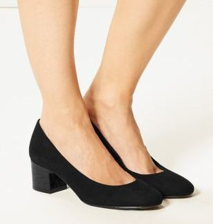 M&S Collection Block Heel Court Shoes