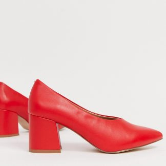 Matt & Nat curved block heeled shoes in ruby-Red
