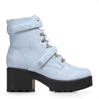 Sky Blue Chunky Platform Boots with Blue Studs and White Laces