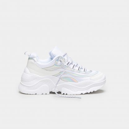 White and Silver Extra Chunky Holographic Trainers