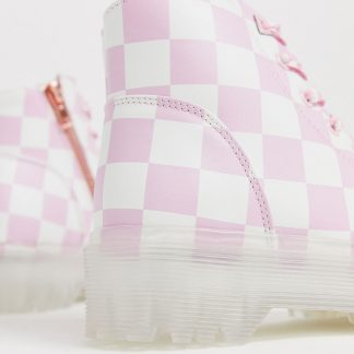 Y-R-U - vegan leather boots in check-Pink