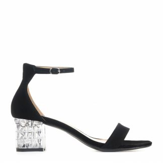 Crystal Heel Black Suede Sandals with Ankle Strap