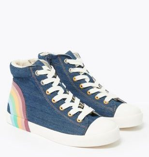 Kids's Denim Rainbow High-Top Trainers (13 Small - 6 Large)
