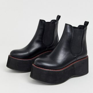 Koi vegan extreme platform ankle boots in black with red stitching