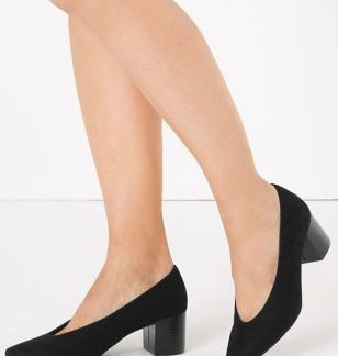 M&S Collection Block Heel Almond Toe Court Shoes