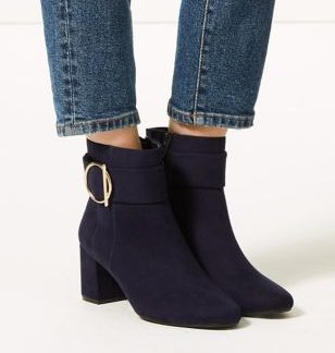 M&S Collection Wide Fit Side Buckle Ankle Boots