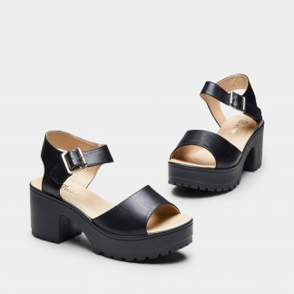 Black Ankle Strap Chunky Platform Cleated Sandals