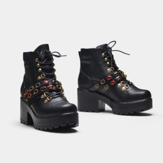 Black Faux Leather Chunky Hiking Boots with Bejewelled Straps