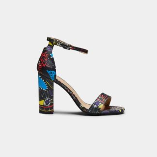Black Graffiti Print Block Heel Sandals