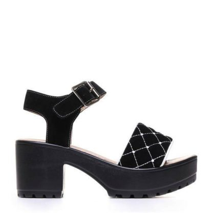 Black Suede Chunky Platform Studded Strap Sandals with Ankle Strap