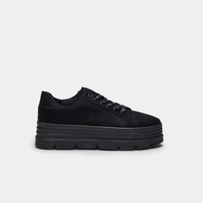 Black Suede Triple Layer Chunky Cleated Flatform Trainers