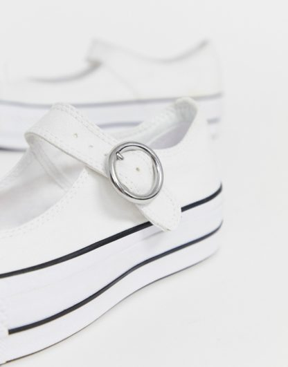 Converse Chuck Taylor Mary Jane white canvas shoes