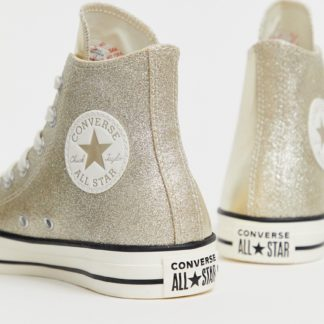 Converse chuck taylor all star hi gold glitter trainers