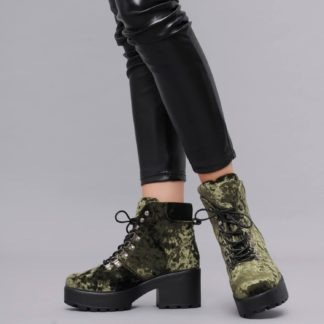 Crushed Green Velvet Chunky Platform Hiking Boots with Ski Hooks